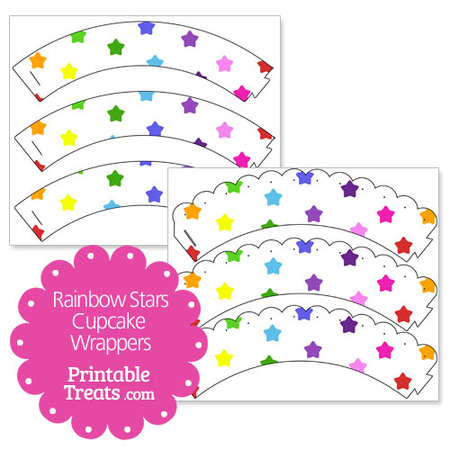 printable rainbow stars cupcake wrappers