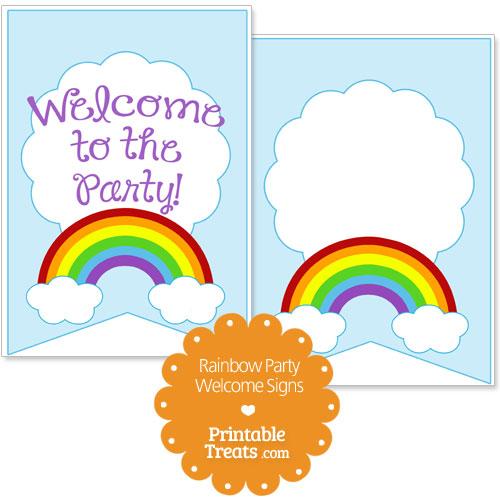 printable rainbow welcome signs