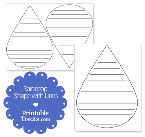 printable raindrop shape with lines