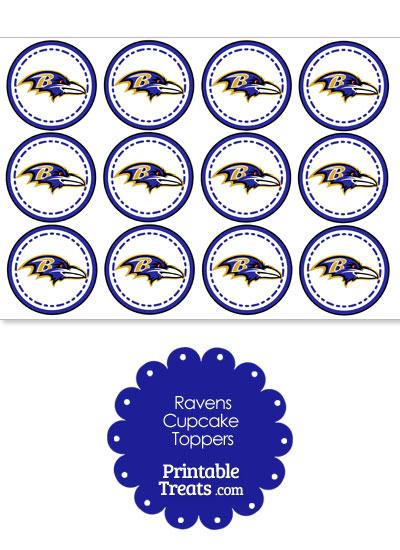 Printable Ravens Logo Cupcake Toppers from PrintableTreats.com