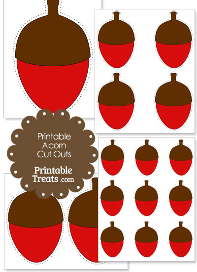Printable Red Acorn Cut Outs from PrintableTreats.com