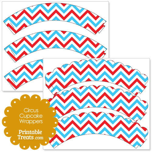 printable red and blue circus cupcake wrappers