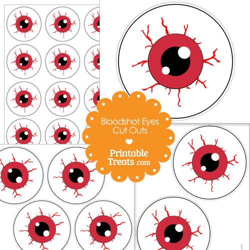 printable red bloodshot eyes cut outs