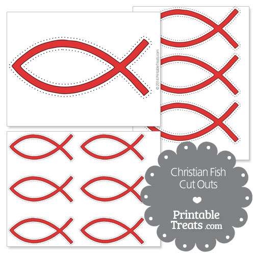 printable red Christian fish cut outs