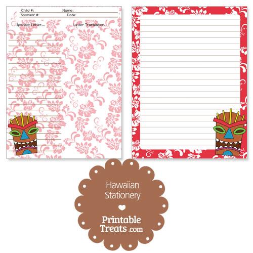 printable red Hawaiian stationery