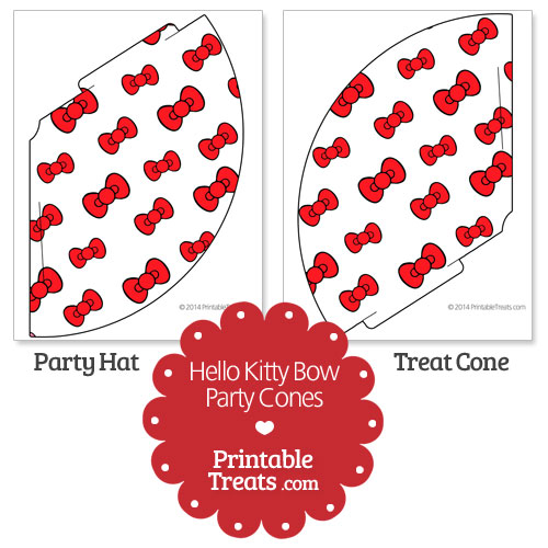 printable red hello kitty bow party cones