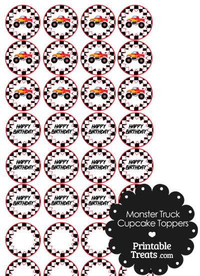 Printable Red Monster Truck Cupcake Toppers from PrintableTreats.com