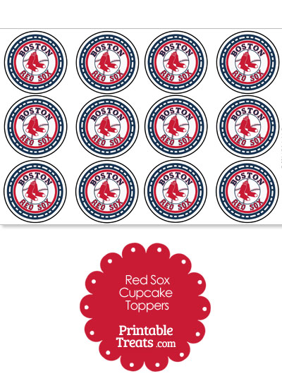 Printable Red Sox Logo Cupcake Toppers from PrintableTreats.com