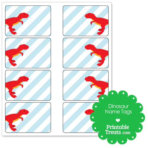 printable red T Rex name tags