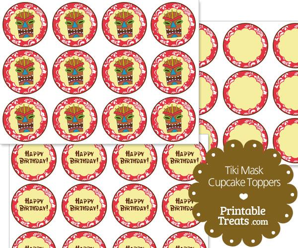printable red tiki mask cupcake toppers
