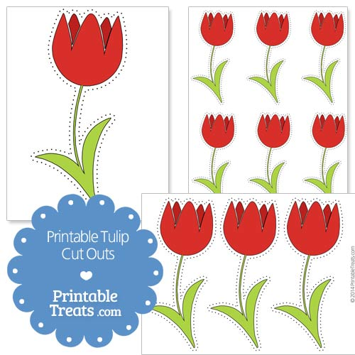 printable red tulip cut outs