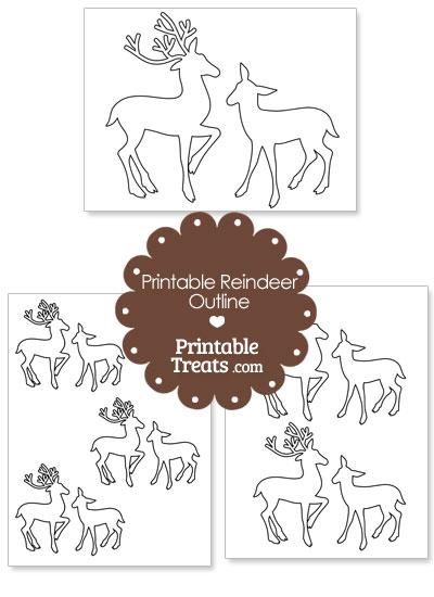 Printable Reindeer Couple Outline from PrintableTreats.com