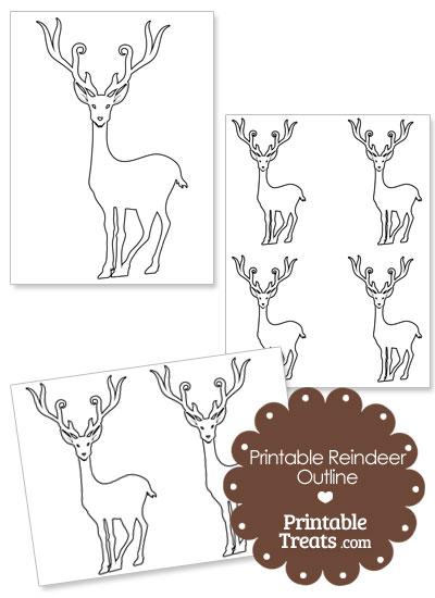 Printable Reindeer Outline from PrintableTreats.com