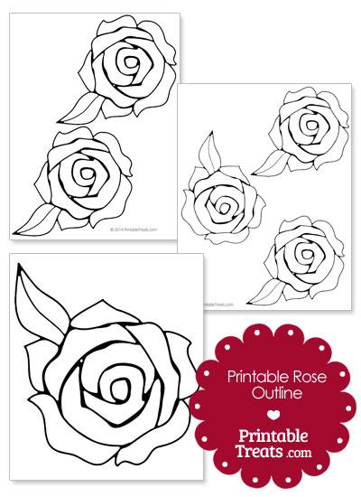 Printable Rose Outline from PrintableTreats.com