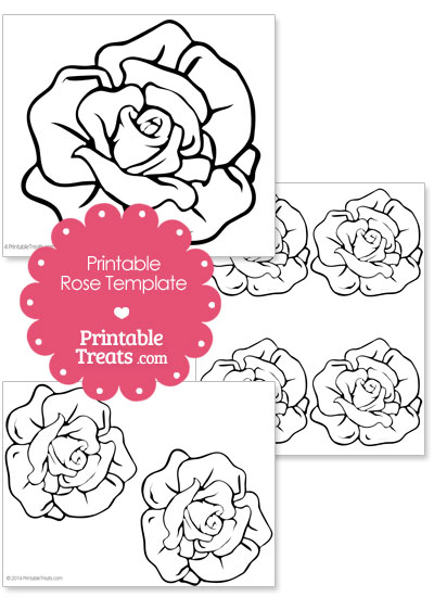Printable Rose Shape Template from PrintableTreats.com