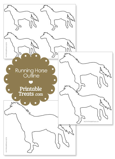 Printable Running Horse Outline from PrintableTreats.com
