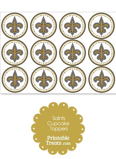 Printable Saints Logo Cupcake Toppers from PrintableTreats.com