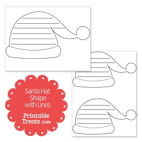 printable santa hat shape with lines
