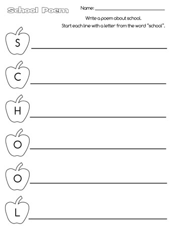 printable school acrostic poem