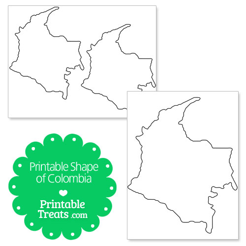 printable shape of colombia