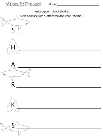 printable shark acrostic poem