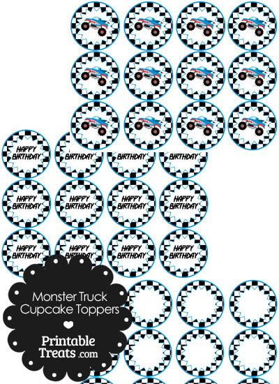 Printable Shark Monster Truck Cupcake Toppers from PrintableTreats.com