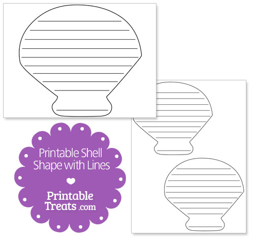 printable shell shape with lines