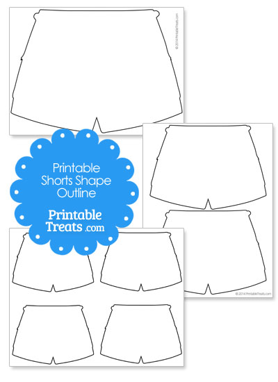 Printable Shorts Shape Template from PrintableTreats.com