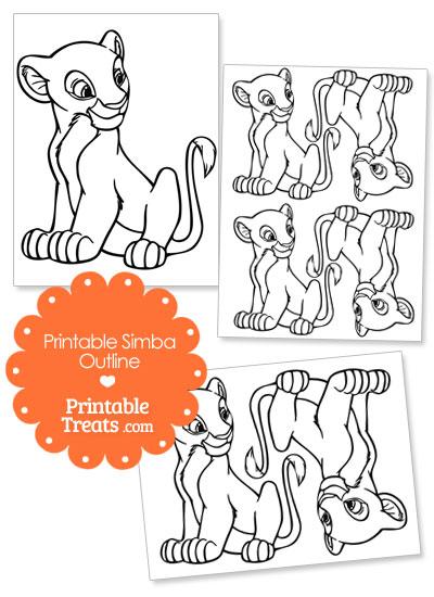 Printable Simba Outline from PrintableTreats.com