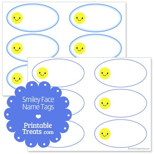 printable smiley face name tags