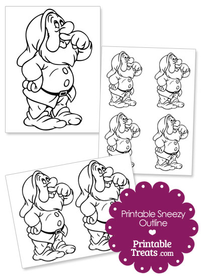 Printable Sneezy Outline from PrintableTreats.com