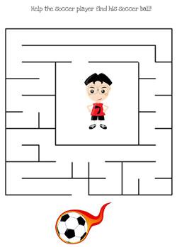 printable soccer maze games easy
