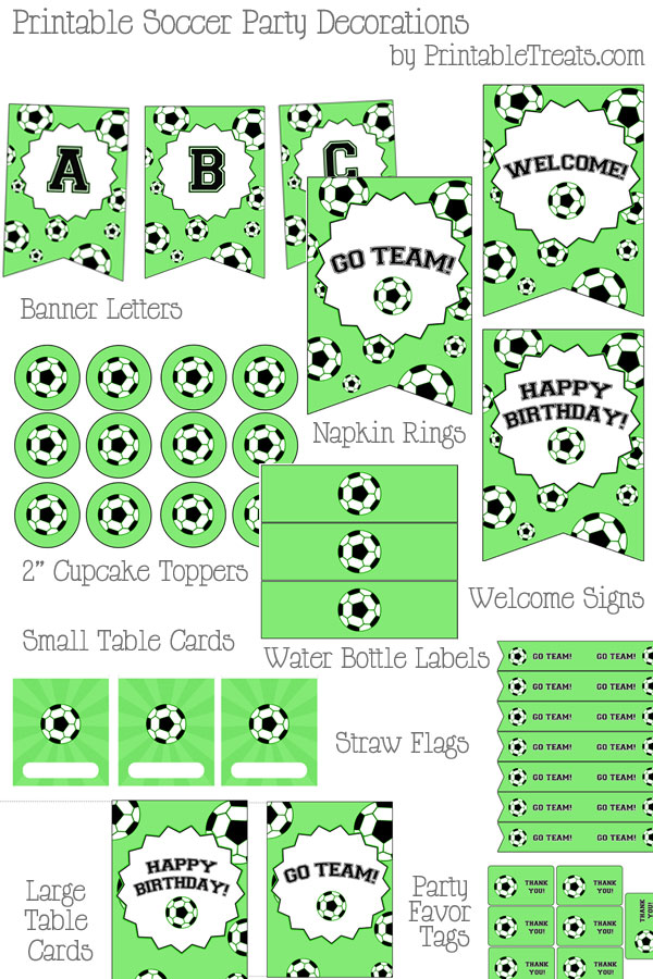 Printable Soccer Party Decorations