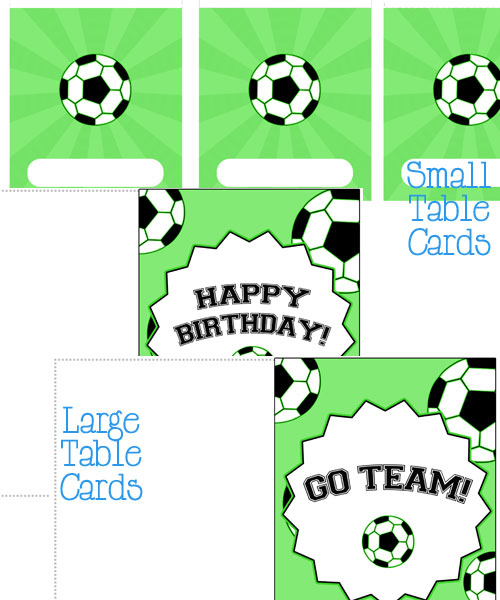 soccer party table cards