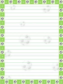 printable green soccer stationery