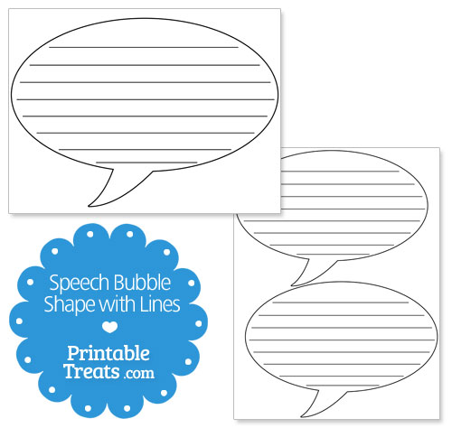 printable speech bubble shape with lines
