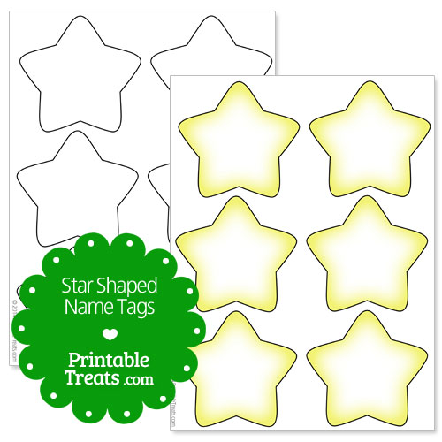 printable star shaped name tags