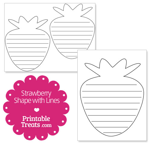 printable strawberry shape with lines