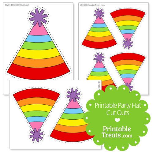 printable striped party hat cut outs