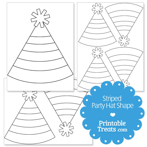 printable striped party hat shape