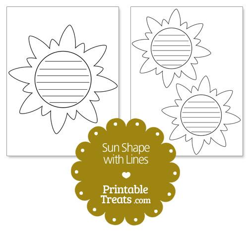 printable sun shape with lines