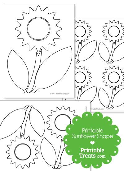 Printable Sunflower Shape Template from PrintableTreats.com