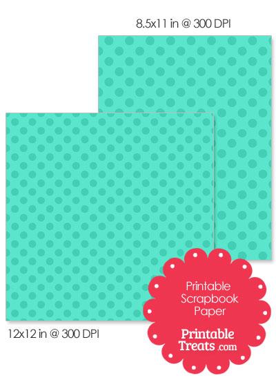 Printable Teal Polka Dot Paper from PrintableTreats.com
