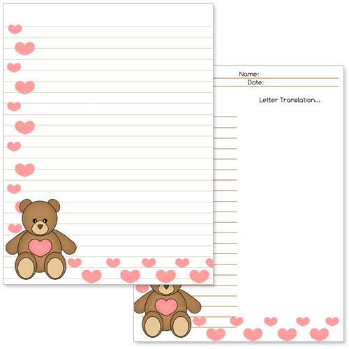printable teddy bear stationery