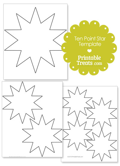 Printable Ten Point Star Template from PrintableTreats.com