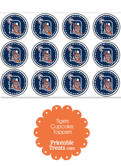 Printable Tigers Logo Cupcake Toppers from PrintableTreats.com