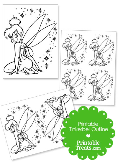 Printable Tinkerbell Sitting Outline from PrintableTreats.com