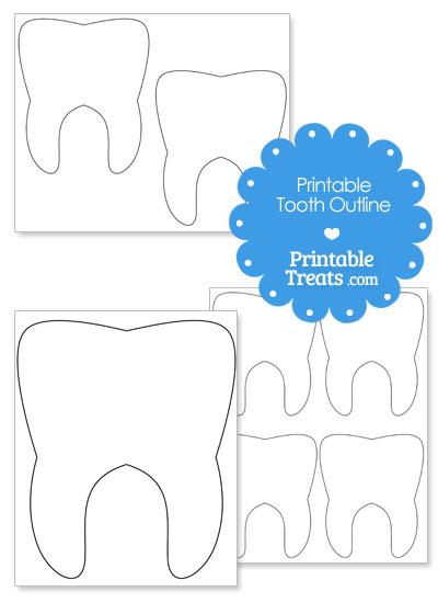 Printable Tooth Outline from PrintableTreats.com