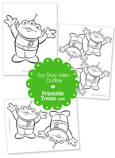 Printable Toy Story Alien Outline from PrintableTreats.com