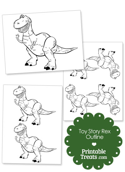 Printable Toy Story Rex Outline from PrintableTreats.com
